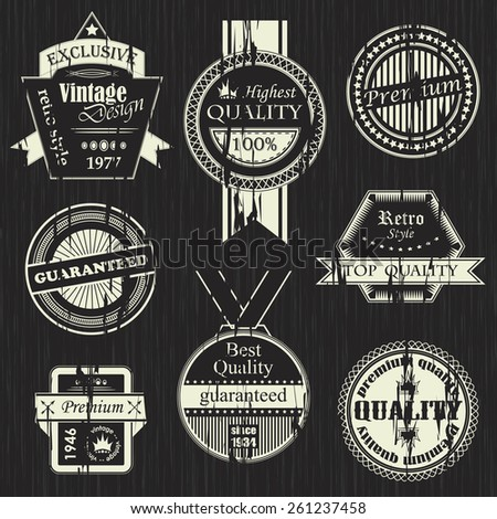 Vector set of vintage labels. Retro labels. Vintage labels collection. Grunge design       - stock vector