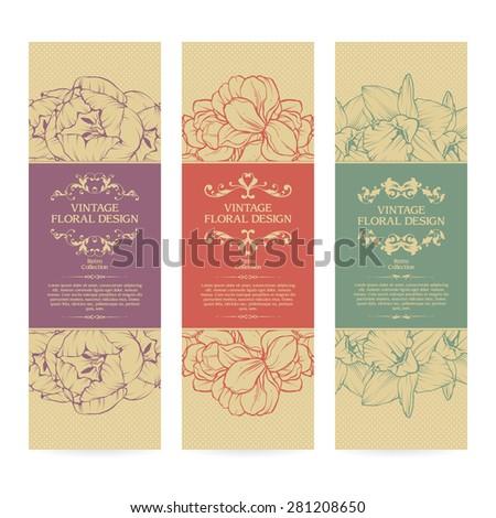 Vector set of vintage ornamental frame floral templates banners design - stock vector