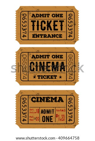 Vector set of vintage paper admit one and ticket samples icon