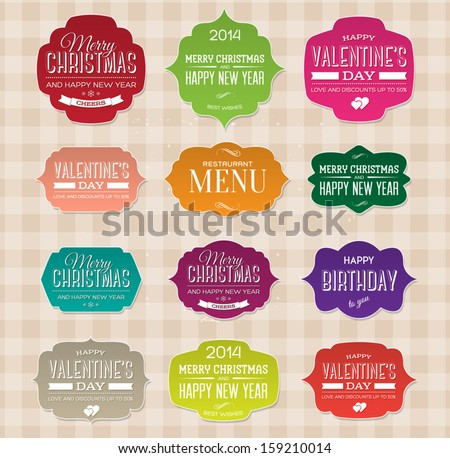 Vector set of vintage paper labels for christmas, birthday, valentine's day, restaurant menu