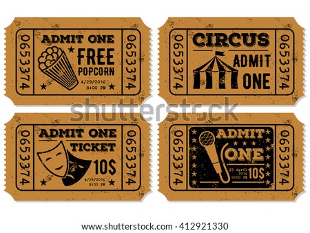 Vector set of vintage paper ticket and admit one samples icon - stock vector