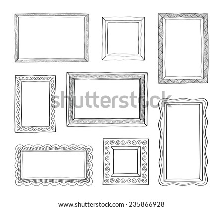 Vector set of vintage photo frames, hand drawn doodle style, antique ornamental and cute photo frames for decoration and design - stock vector