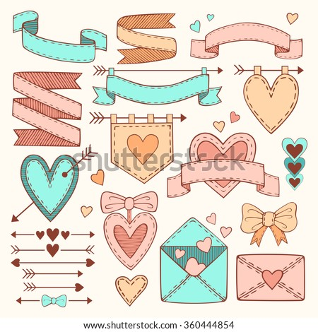 Vector set of vintage romantic Valentine's day hand drawn design elements. Collection of ribbons, arrows, labels, hearts and flags - stock vector