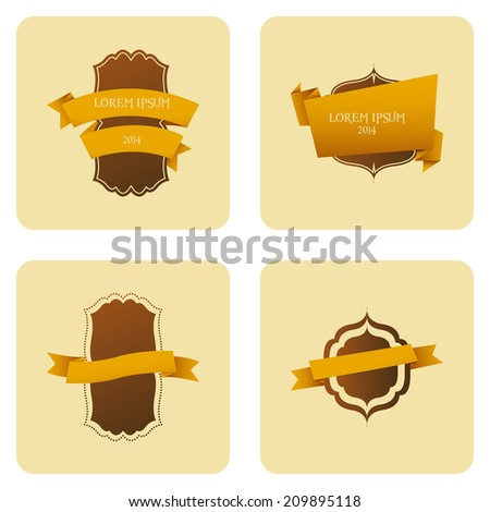 Vector Set Of Vintage Stylish Labels Isolated On Background - stock vector