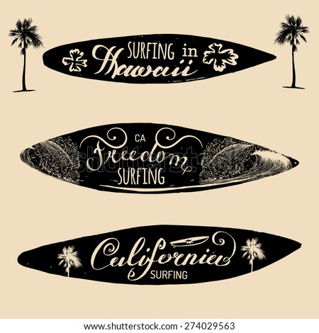 Vector Set Of Vintage Surfing Logos Signs Collection For Textile T Shirts Print