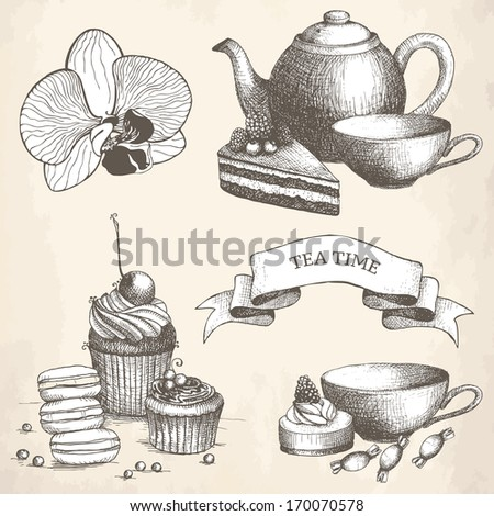 Vector set of vintage sweet cake, candies and teapot. Hand drawn tea time illustrations. - stock vector