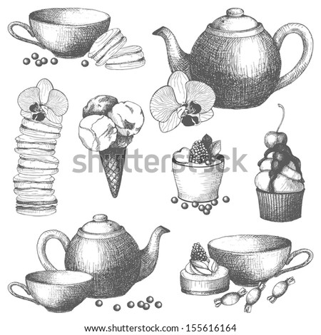 Vector set of vintage sweet cake, candies and teapot. Hand drawn tea time illustrations isolated on white - stock vector