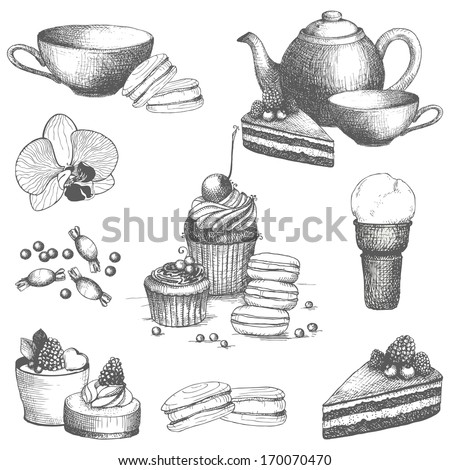 Vector set of vintage sweet cake, candies and teapot. Hand drawn tea time illustrations isolated on white. - stock vector