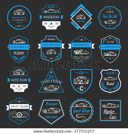 Vector Set Of Vintage Symbols And Sign Car Service Sale Retro Labels Logos