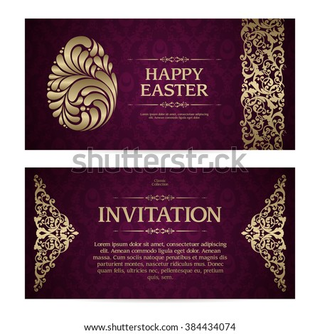 Vector set of vintage template with pattern gold decor borders and ornamental Easter egg symbol. Design for greeting card, party invitation, banner with calligraphic elements in vintage classic style. - stock vector