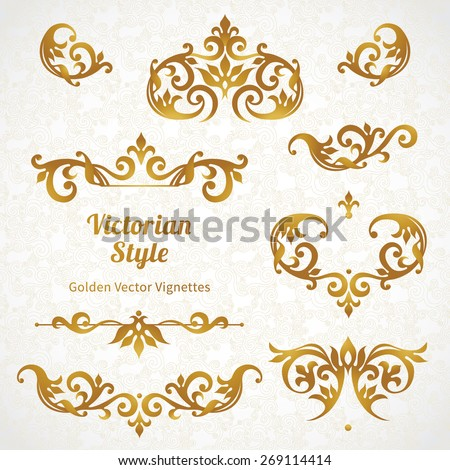 Vector set of vintage vignettes in Victorian style. Ornate element for design and place for text. Ornamental patterns for wedding invitations, birthday and greeting cards.  Traditional golden decor. - stock vector
