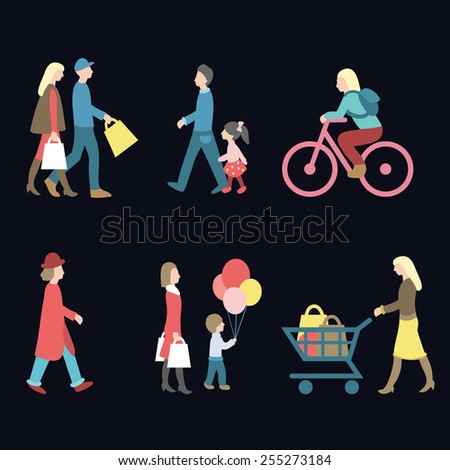 Vector set of walking and shopping people icons in trendy flat style. Vector collection of different man, woman, child icons in flat style - stock vector