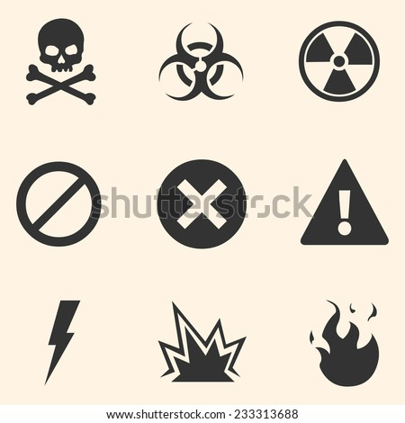 Vector Set of Warning Icons - stock vector