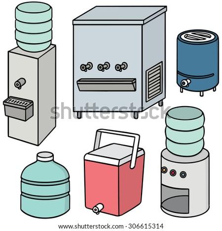 vector set of water cooler - stock vector