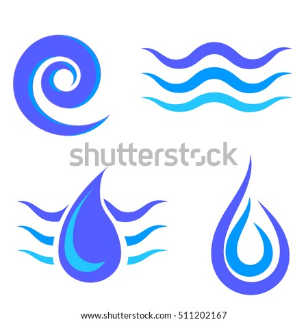 Vector Set of Water Icons Isolated on White Background