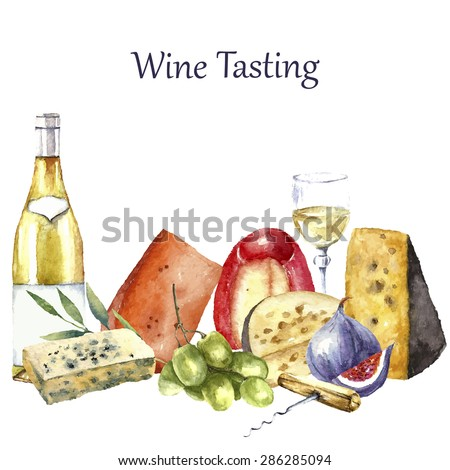 Vector set of watercolor food illustration. Grapes, cheese, fig, bottle of white wine and a glass of wine are in the set. - stock vector