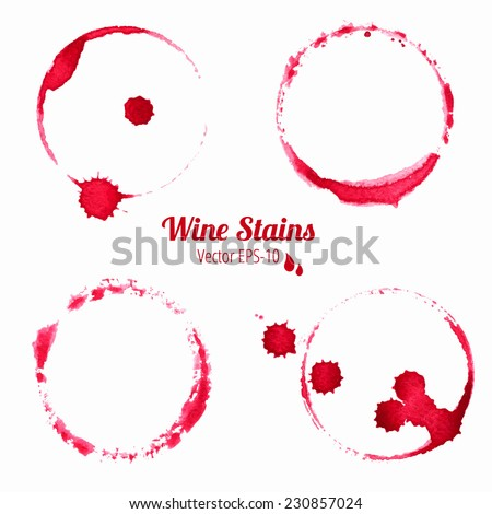 vector set of 4 watercolor red round wine stains isolated on white background