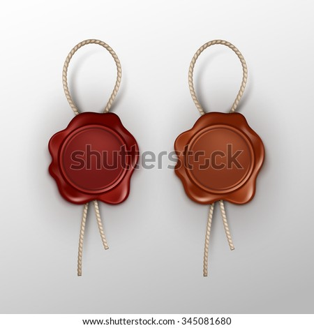 Vector Set of Wax Seal Stamp Isolated on Background