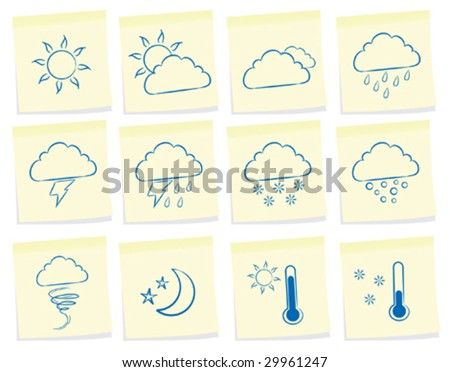 vector set of weather icon on note paper - stock vector