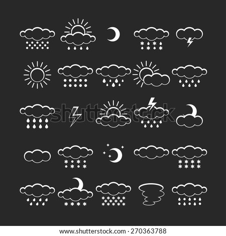 Vector set of weather icons isolated. Symbol design. Sun, moon, wind, cloud, rain, storm, snow, thunderstorm, star, lightning. Climate symbols. Meteorology illustration.