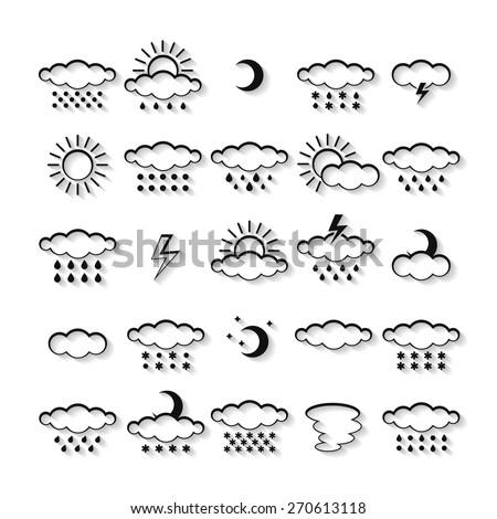 Vector set of weather icons isolated. Symbol design. Sun, moon, wind, cloud, rain, storm, snow, thunderstorm, star, lightning. Climate symbols. Meteorology illustration. - stock vector
