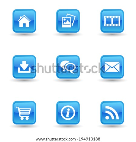 Vector set of web and Internet web icon and design elements on blue glossy badges for website, blog and on line business. EPS 10 illustration on white background. - stock vector