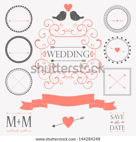 Vector set of wedding vintage design elements for wedding card or invitation - stock vector