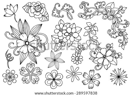 Vector set of white and black flowers. Doodle floral design elements.
