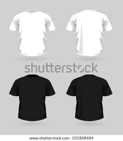 Vector set of white and black t-shirts - stock vector