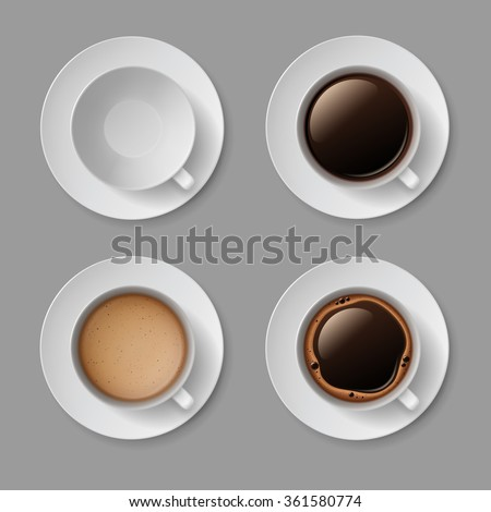 Vector Set of White Coffee Cup Mug with Crema Foam Bubbles Top View Isolated On Background - stock vector