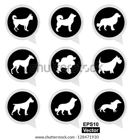 Vector : Set Of White Dog on Black Icons Isolated on White Background - stock vector