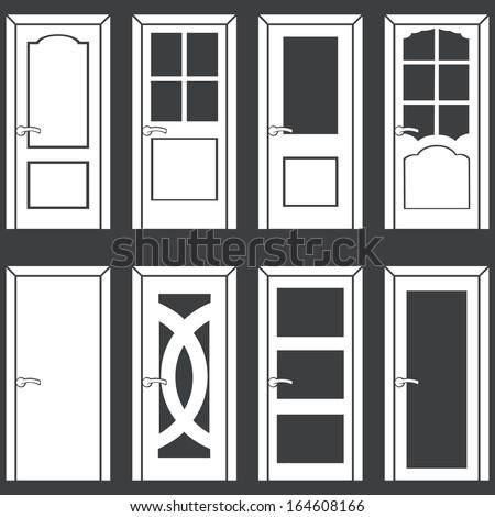 vector set of 8 white door icons  sc 1 st  Shutterstock & Vector Set 8 White Door Icons Stock Vector 164608166 - Shutterstock