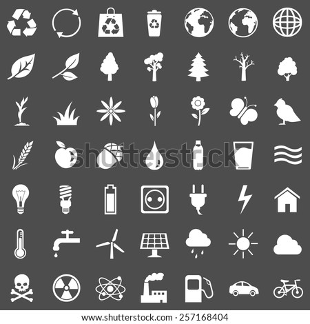 Vector Set of White Ecologic Icons - stock vector