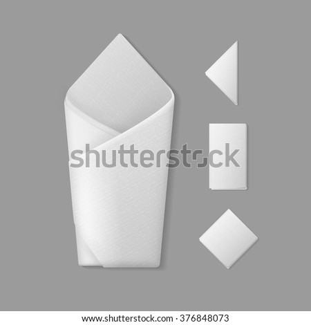 vector set of white folded envelope square rectangular triangular napkins top view isolated on background