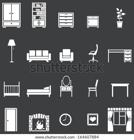 vector set of 20 white furniture icons  - stock vector