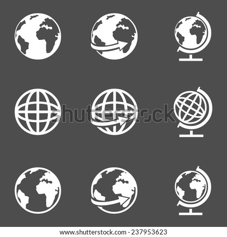Vector Set of White Globe Icons