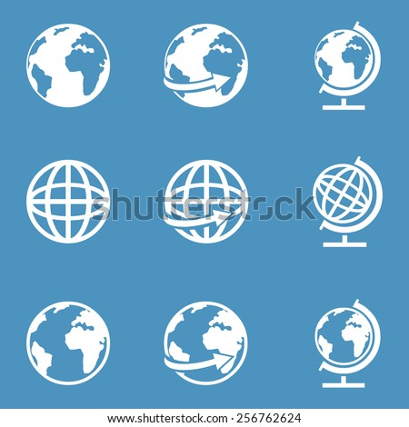 Vector Set of White Globe Icons on Blue Background
