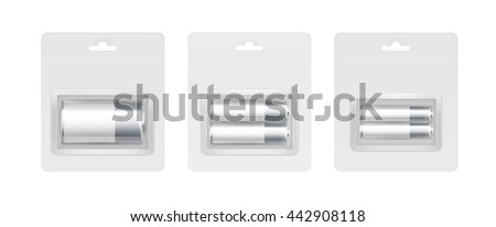 Vector Set of White Gray Silver Glossy Alkaline AA, AAA, C Batteries in Transparent Gray Blister Packed for branding Close up Isolated on White Background - stock vector