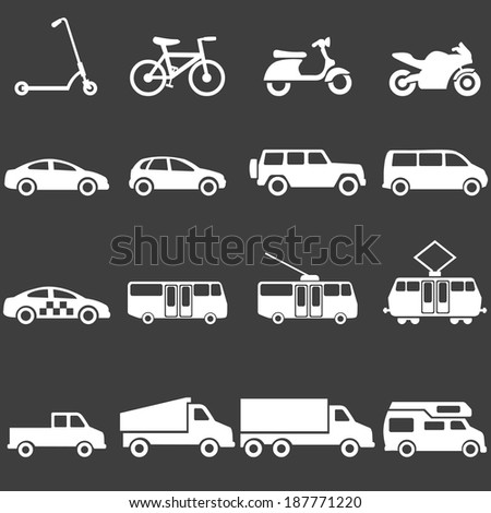 Vector Set of White Ground Transportation Icons - stock vector
