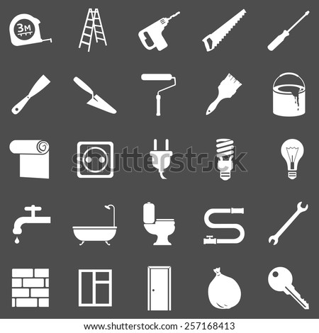 Vector Set of White Home Repairing, Building, Construction and Decoration Icons