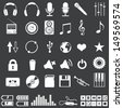 Vector set of 46 white music icons - stock vector