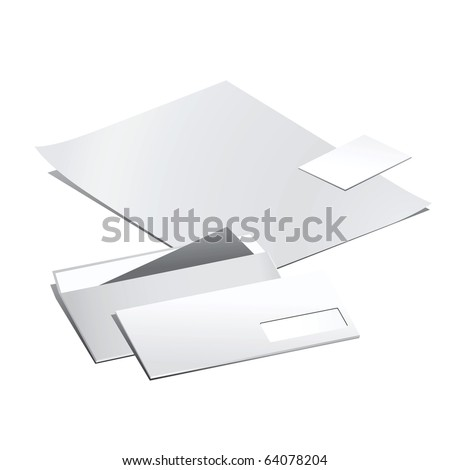 Vector set of  white paper stationery elements. - stock vector