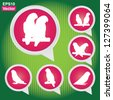 Vector : Set Of White Parrot Bird on Pink Icons in Green Shiny Background - stock vector