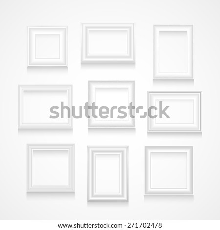 Vector set of white picture frames on white wall. - stock vector