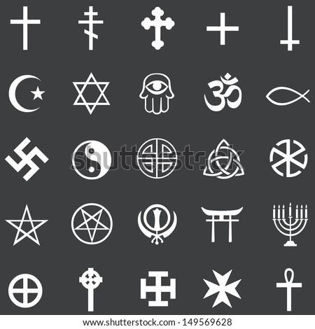 vector set of 25 white religious symbols - stock vector