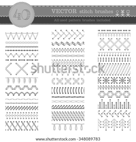 Vector set of white seamless stitch brushes. Sewing patterns, seams, borders, page decorations and dividers isolated on white background. All used pattern brushes included.