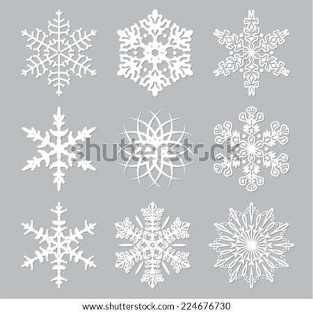 vector set of 9 white snowflakes - stock vector