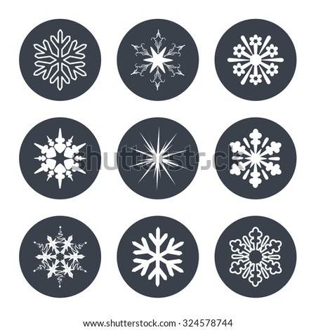 Vector set of white snowflakes on the dark circular background - stock vector
