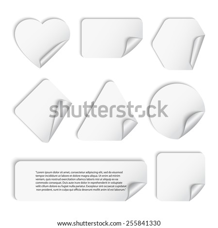 Vector set of white stickers geometric shapes with shadow and a curved corner ,isolated on a white background.Triangle, square, circle, rectangle,polygon,heart - stock vector