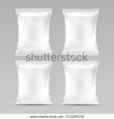 Vector Set of White Vertical Sealed Empty Plastic Foil Bags for Package Design with Serrated and Smooth Edges Front View Close up Isolated on Background